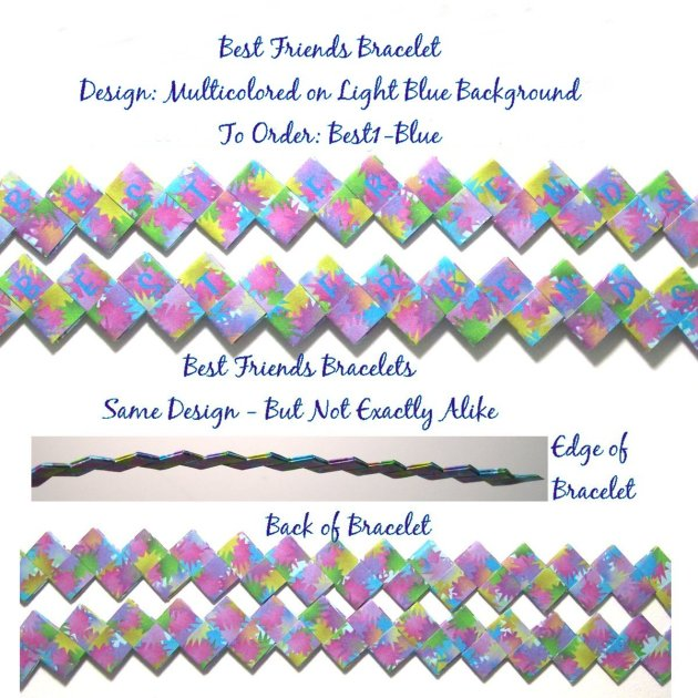 Origami Bracelet - Best Friends with Multicolor Design on Light Blue Background