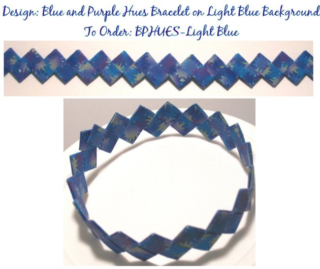 Origami Bracelet - Blue and Purple Hues on Light Blue Background