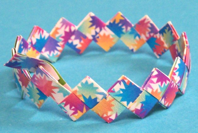 "Origami Bracelet - Made with ""rescued"" book cover paper"