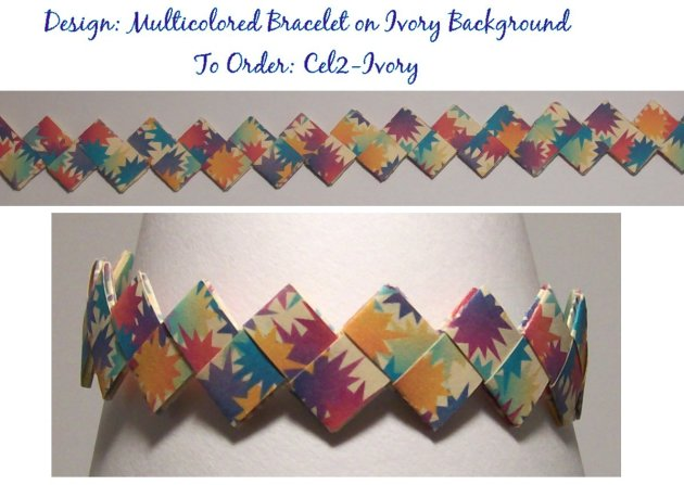 Origami Bracelet - Multicolored design on Ivory background