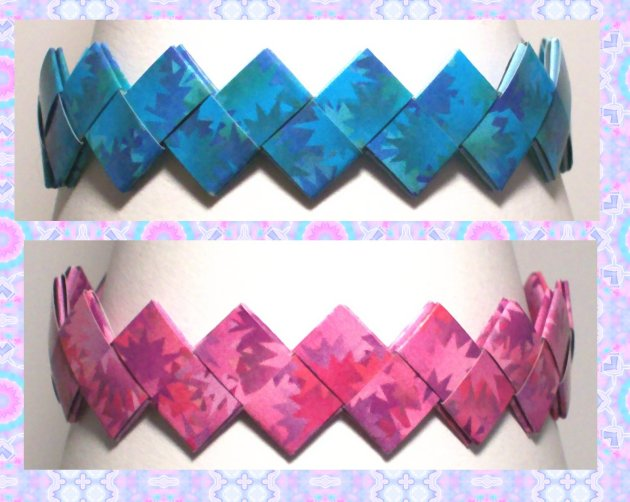 Origami Bracelets Using Book Cover Paper (similar to a book dust jacket)