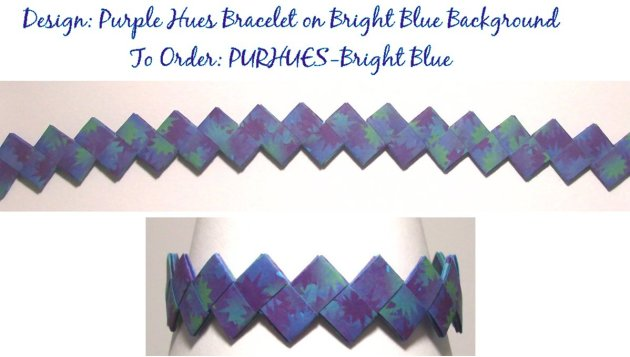 Origami Bracelet - Purple Hues design on Bright Blue Background