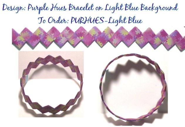 Origami Bracelet - Purple Hues design on Ligt Blue Background