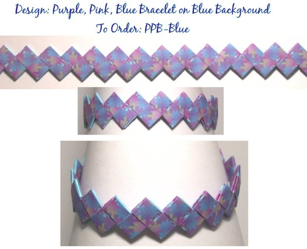 Origami Bracelet - Purple, Pink, and Blue design on Blue Background