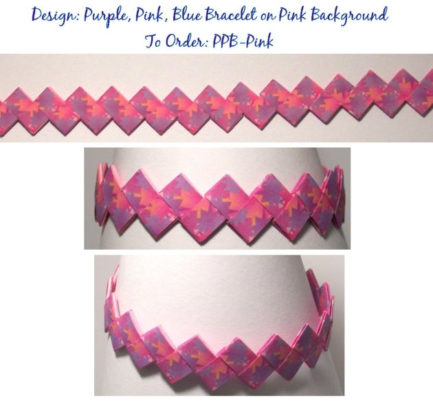 Origami Bracelet - Purple, Pink, and Blue design on Pink Background