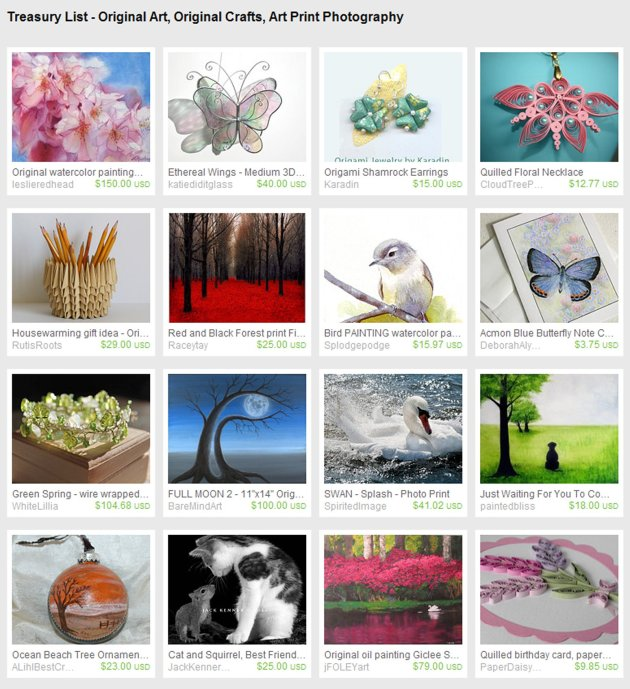 My first Etsy Treasury List